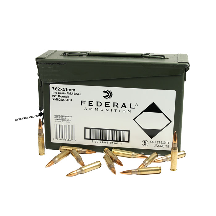 Federal 7.62x51 NATO 149 GR. FMJ - 220RD Case