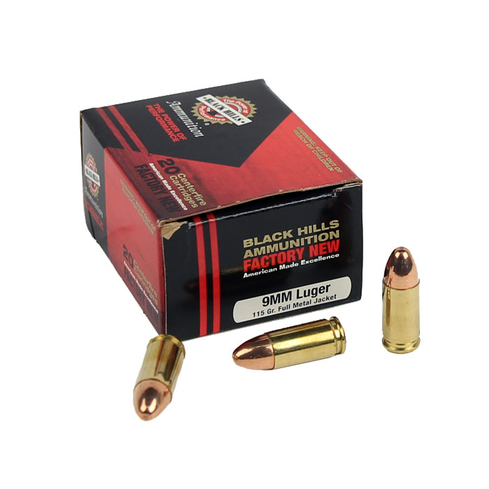 Black Hills 9mm Luger 115 GR. FMJ - 20RD