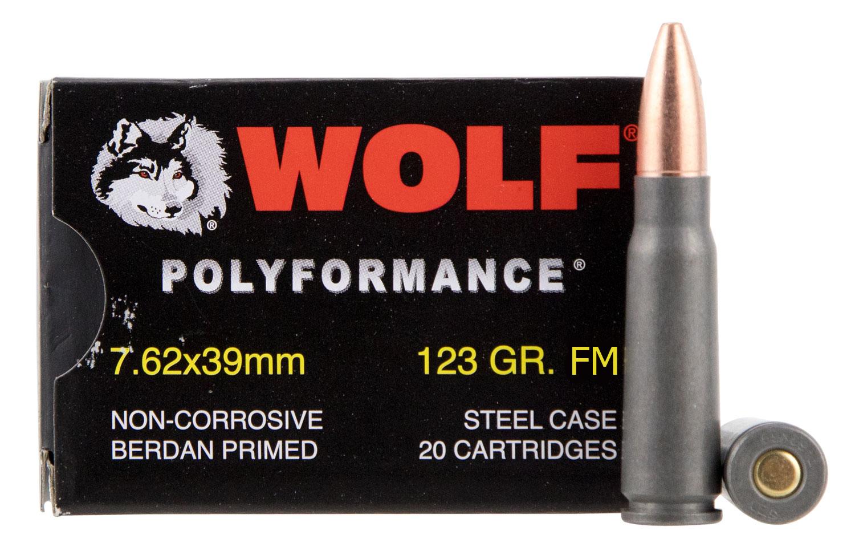 Wolf 7.62x39mm 123 GR. FMJ Steel Case - 20RD