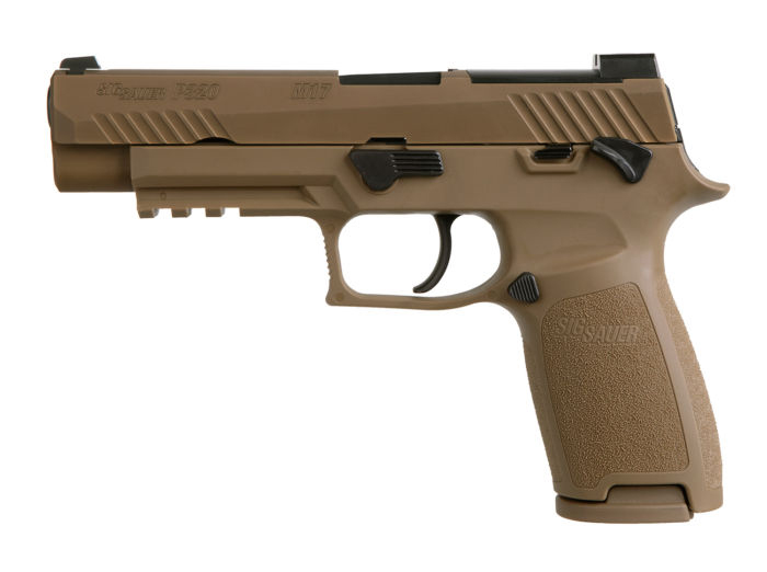 Sig Sauer P320 M17 Commercial, 9mm, Coyote Tan, Night Sights, Manual Safety