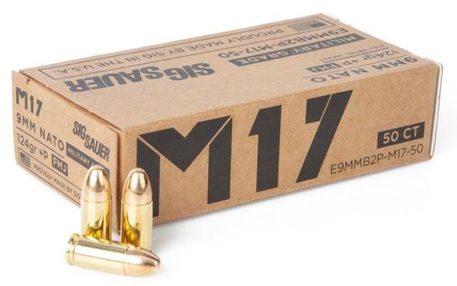 Sig Sauer M17 9mm 124 GR. +P FMJ - 50RD