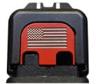 Milspin Custom Back Plate - Flag - Standard Glock - Stainless Steel with Red Cerakote