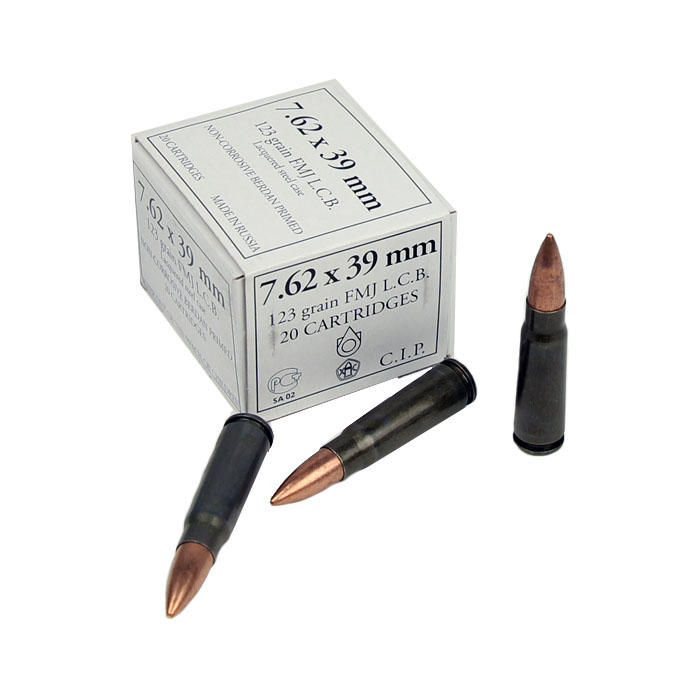 Russian 7.62x39mm 123GR FMJ - Steel Case - 20RD