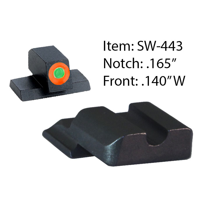 Ameriglo Tritium Night Sight Set - Hackathorn - S&W M&P Shield - Black/Green (orange outline)