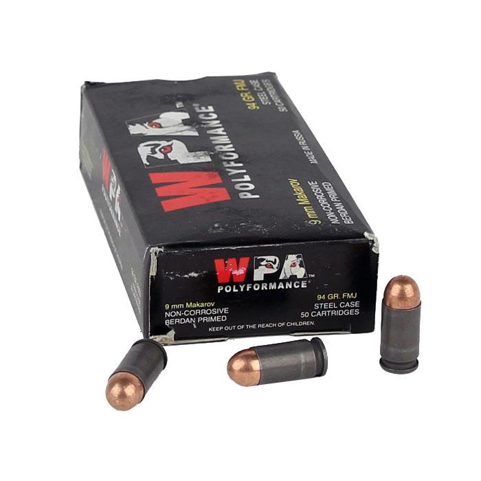 Wolf 9x18 Makarov 94GR FMJ - Steel Case - 50RD