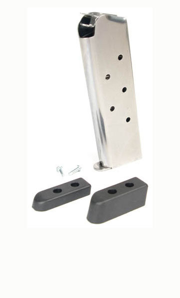 Check-Mate .45ACP, 7RD, SS, Wadcutter, Bumper Pads - Full Size 1911 Magazine