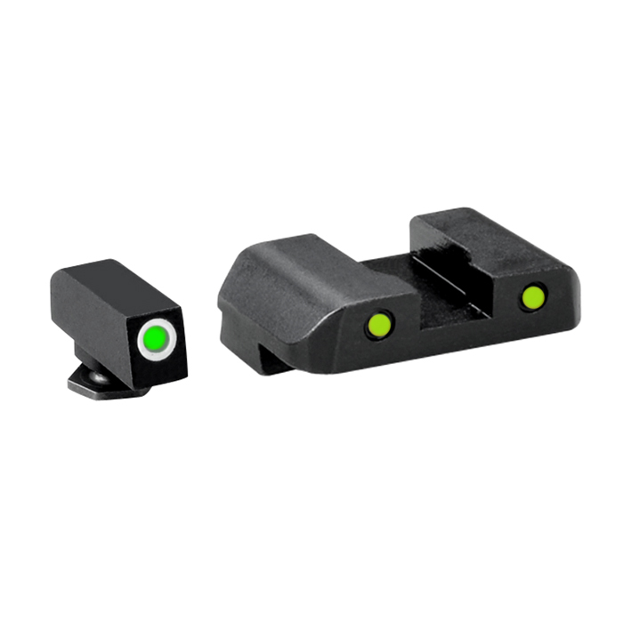 Ameriglo Tritium Night Sight Set - PRO OPERATOR SERIES - Glock 10mm, .45, .357 - Green/Yellow